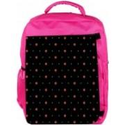 Snoogg Eco Friendly Canvas Orange Stars Black Pattern Designer Backpack Rucksack School Travel Unisex Casual Canvas Bag Bookbag Satchel 5 L Backpack(Pink)