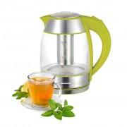 Fierbator Heinner cu infuzor ceai, 1,8 litri, verde, sticla