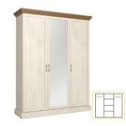 Akasztós szekrény polcokkal, tükörrel, északi erdei fenyő/tölgy