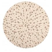 nimarahome.de Isla - Filzkugelteppich rund, Ø160 cm, Weiß/Braun/Sand