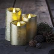 Candele di cera a LED SIRIUS - 3 pezzi, oro