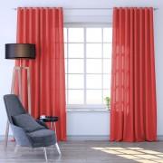 Livani Rideau à oeillets Tamisant 145x250 cm, Prêt-à-poser, Rouge