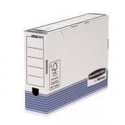 Scatole portaprogetti in cartone Fellowes Bankers Box System R-Kive Legal - 332078 Scatola porta progetti in cartone 36,6 X 8,5 X 25,8 cm - formato utile 36 X 8 X 25,5 cm dorso 8,5 cm con chiusura a patella di colore bianco/blu in confezione da 10 Pz.