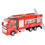 BXT Interactive Construction Trucks Cars Toys 1:48 Scale Diecast Alloy Pull Back Water Pump Ladder Fire Engine Rescue Truck Vehicle Model Toy for Preschool Kids Girls Boys 3+ Years Birthday/Xmas Gift