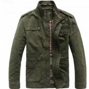 Al aire libre hombres de ocio de algodon stand-collar chaqueta - verde ejercito (xxxl)