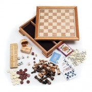 Deluxe 7-in-1 Wood Chess Game Set (7 Different Games) - Includes 2 Decks of Cards!