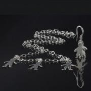 Nunki - Silverhalsband och örhängen med ringar och tre barn siluetter