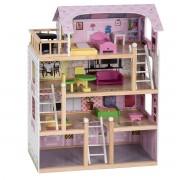 Costway Casa de Muñecas de Madera para Niñas Casa de Juguetes con Muebles 81 x 60 5 x 29 5cm