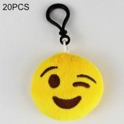 20 PCS Creative Plush Doll - Colgantes Regalo Cartoon Cute Expresión Facial Decoraciones Colgantes Llaveros Con Hook