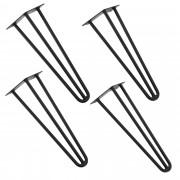 [en.casa]® Štýlové stolové nohy 3 – sada nôh (4 kusová) - 40 cm - čierne