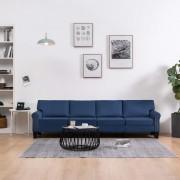 vidaXL 4-местен диван, син, текстил
