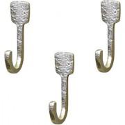 Casa Decor Set Of 3 Hammer Head Wall Hooks Hanging Clothes Hat Coat Robe Hangers Metal Single Hook Door Hook Wall Mounted Single Hook Hanger Silver Nickel Finish