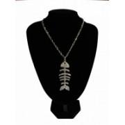 Náhrdelník se štrasem ryba 10609-3 Stříbrná 10609-3
