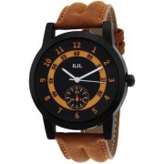 RJL Round Dial Brown Leather Strap Men's Watches