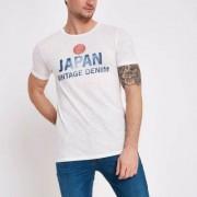 Jack and Jones River Island Mens White Jack and Jones 'Japan' print T-shirt - Size L
