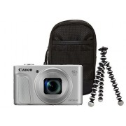 Aparat Foto Digital Canon PowerShot SX730 HS, 20.3 MP, Filmare Full HD, Zoom optic 40x (Argintiu) + Trepied + Husa