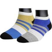 Neska Moda Premium Men 2 Pairs Cotton Ankle length Socks Black Blue S822