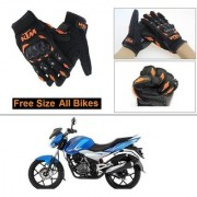 AutoStark Gloves KTM Bike Riding Gloves Orange and Black Riding Gloves Free Size For Bajaj Discover