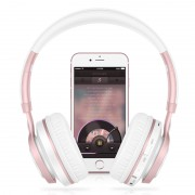 PICUN BT08 Over-ear Wireless Bluetooth Stereo Headset Headphone with Microphone Support FM Radio - White / Rose