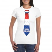 Bellatio Decorations Geslaagd stropdas t-shirt wit dames