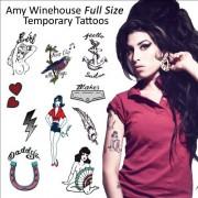 Amy Winehouse SET : (Full Size Tattoos) Temporary Tattoo