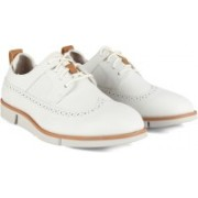 Clarks Trigen Limit White Leather Corporate Casuals For Men(White)