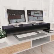 vidaXL Stojan na monitor lesklý sivý 100x24x13 cm drevotrieska