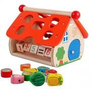Wooden Preschool Fruit Shapes Blocks Sorter Arithmetic Bead Maze Educational Toys for Toddlers