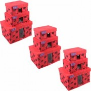 PrettyKrafts Storage Combo Pack of 9 Red/Organizer/Storage Box/Toys Storage Box/Books Storage Box