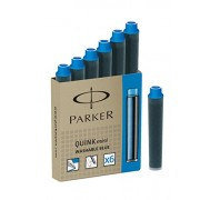 Parker Quink Mini Washable Ink Fountain Pen Refill Catridges, 6 Blue Ink Refills (1741300)