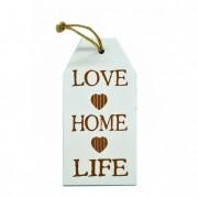 Akasztós tábla Love-Home-Life felirattal fa natúr-krém