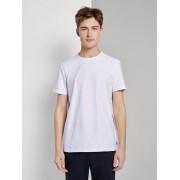 TOM TAILOR DENIM Basic T-shirt met strepen, Heren, White, L