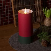 LED candle in cylinder with lid - 3D flame, red