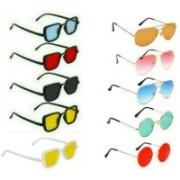 INSH Round, Aviator, Rectangular Sunglasses(Red, Black, Yellow, Brown, Blue, Green)