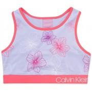 Calvin Klein Playera Deportiva para niña, Floral Iced Orchid, Small
