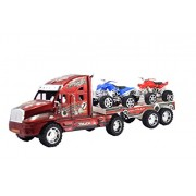 Breno Trailer Truck Toy with Two Bikes for Kids, ATV Bike for Kids, Red