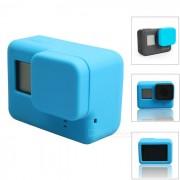 funda de silicona protectora + cubierta de la tapa de la lente para GoPro Hero 5 - azul