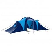 vidaXL Tenda de Campismo 9 Pessoas de Poliéster, Azul-escuro