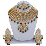 Lucky Jewellery Ethnic Maroon Green Color Gold Plated Pearl And Kundan Necklace Set For Girls & Women