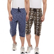 Vimal-Jonney Ripped Look Navy Blue And Camouflage Print 3/4th/Capri For Men(Pack Of 2)
