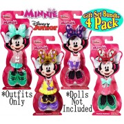 """Fisher-Price Disney Junior Minnie Mouse Snap-On Fashions """"Dance"""", """"Bedtime"""", """"Summer"""" & """"Winter"""" Complete Gift Set Bundle - 4 Pack"""