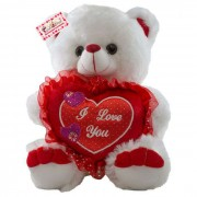 Cute 15 Inch White Teddy Bear holding red I Love You Heart