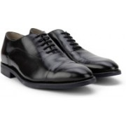 Clarks Swinley Cap Black Leather Lace Up For Men(Black)