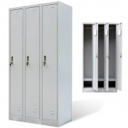 vidaXL Kovové šatnové skříňky uzamykatelné, 3 dvířka, šedé