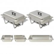 vidaXL Комплект съдове за бен мари, 2 бр, неръждаема стомана