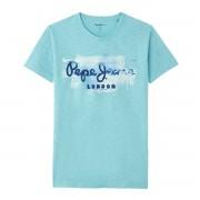 Pepe Jeans T-shirt de gola redonda, motivo à frente, Goldersazul-claro- XS
