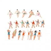 BQLZR 1:75 Multicolor ABS Unpainted Miniature Beach People Figures Little People Pack of 20