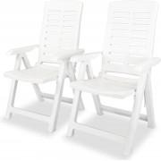 Tuinstoelen - tuinstoel balkonstoelen balkonstoel buitenstoelen set 2 wit kunststof
