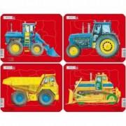 Set 4 Puzzle-uri Tractoare Basculata si Buldozer 10 piese Larsen LRZ1 B39016811