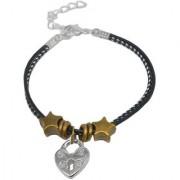 Sullery Lock Charm Multicolour Leather Metal Bracelet For Men And Women